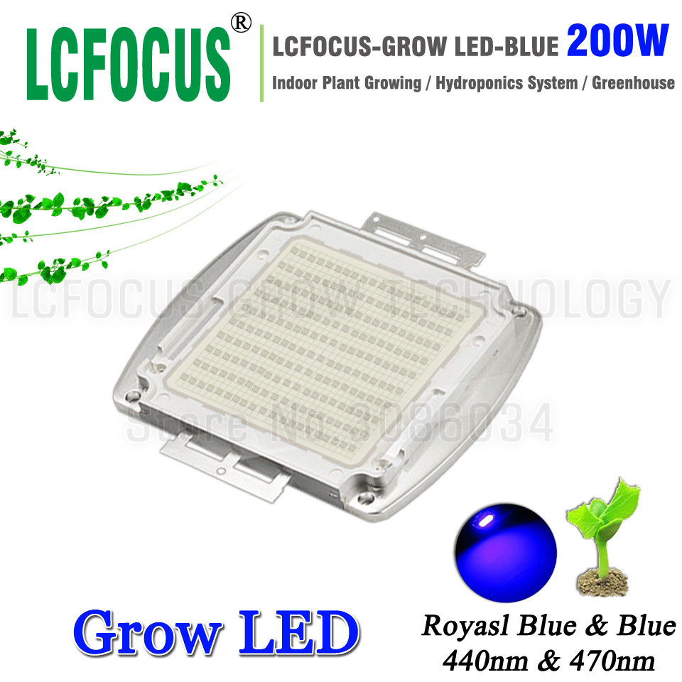 200W High Power LED Chip Royal Blue 440nm <font><b>470nm</b></font> Diode COB Plant Growth Hydroponics For DIY 200 400 600 W Watt LED Grow Light image
