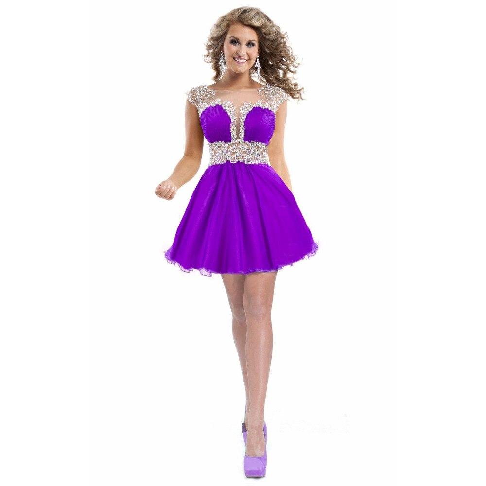 Baratos Robe de cóctel 2017 por encargo púrpura/amarillo gasa ...