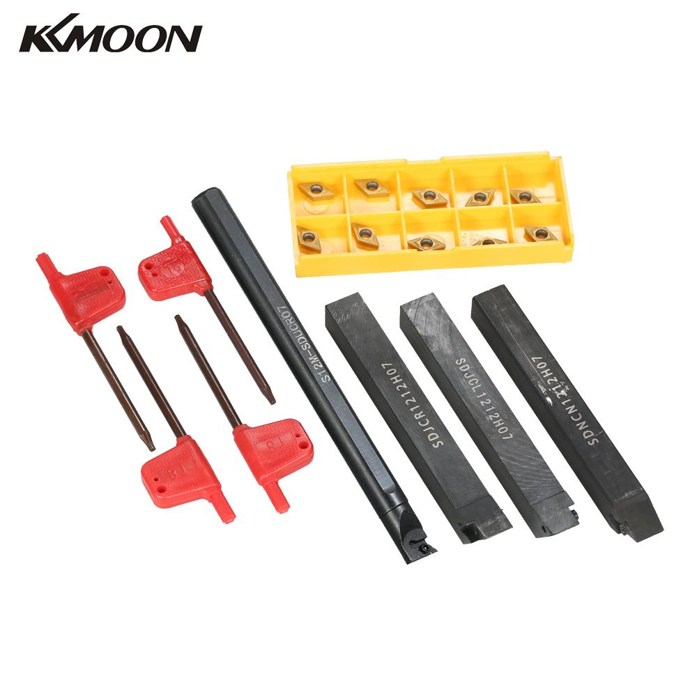 4pcs Boring Bars + 10pcs/box DCMT0702 Carbide Inserts + 4pcs Wrench Lathe tools Metal Cutter CNC wood turning tools-in Turning Tool from Tools