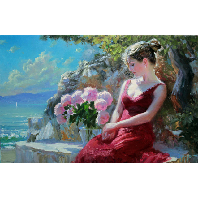 Paintings amazing flower famous garden pretty picturesboss hand made famous artists a elegant lady beautiful woman in the garden dree a red skirt mightylinksfo