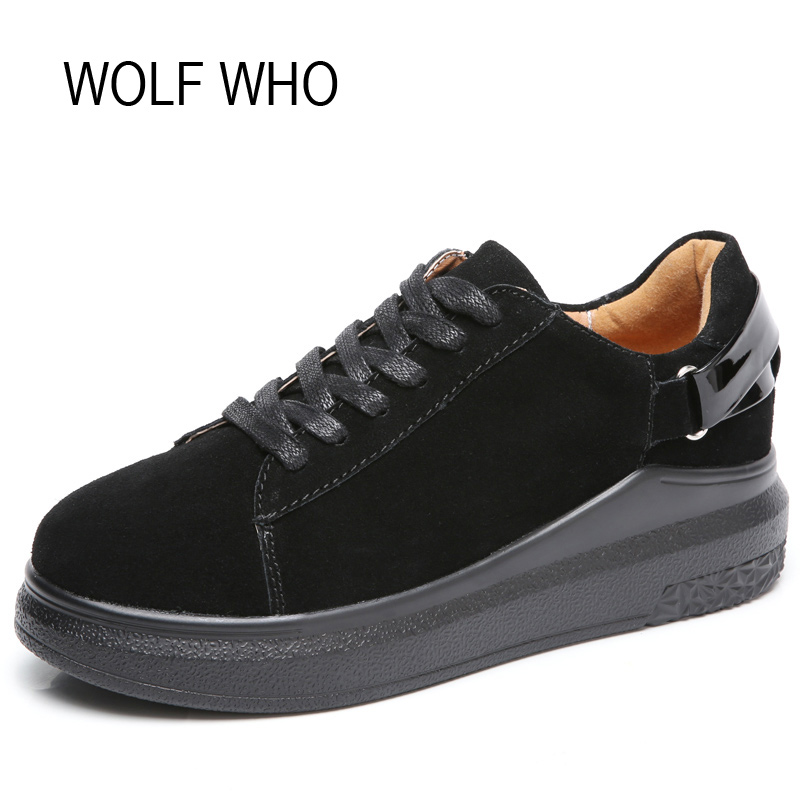 WOLF WHO Spring Autumn Female Suede Sneakers Women Platform Shoes Ladies Krasovki Basket Femme Tenis Feminino Casual H-161 2017 spring autumn casual men s shoes basket femme chaussure tenis feminino male shoes sport krasovki trainers luxury presto