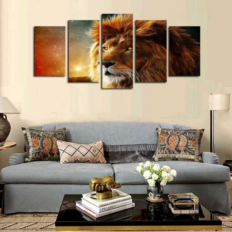 5 Panels (No Frame)Canvas Wall Art Dream Lion Pictures Paint on Canvas Painting for Home Kitchen Decorative no frame canvas
