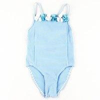 جديد طفل الفتيات المايوه قطعة واحدة ملابس أزرق فاتح مخطط نمط الأطفال المايوه الطفل الاطفال فتاة السباحة ملابس السباحة
