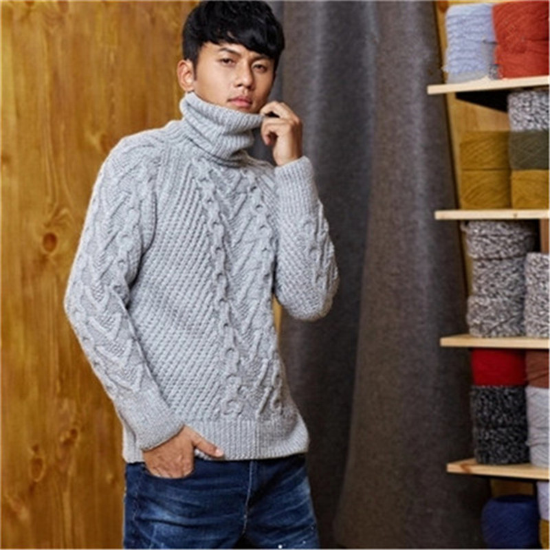 100% Hand Made Pure Wool Knit Men Fashion Turtleneck Solid Loose Pullover Sweater White 5color Customized
