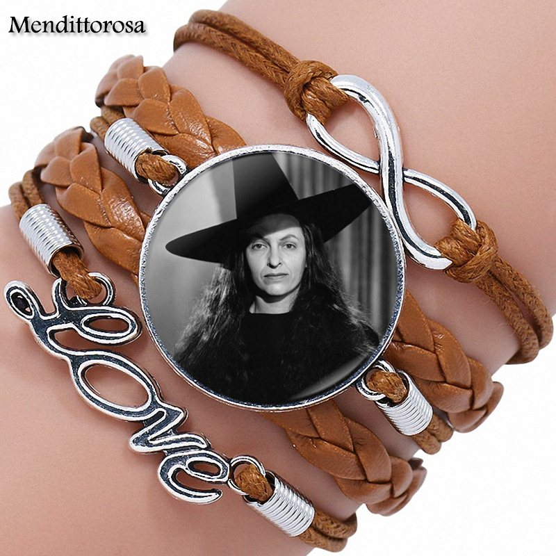 Jewelry With Plated Glass Cabochon Multilayer Black/Brown Leather Bracelet Bangle For Women Girls Handmade Wizard Of Oz