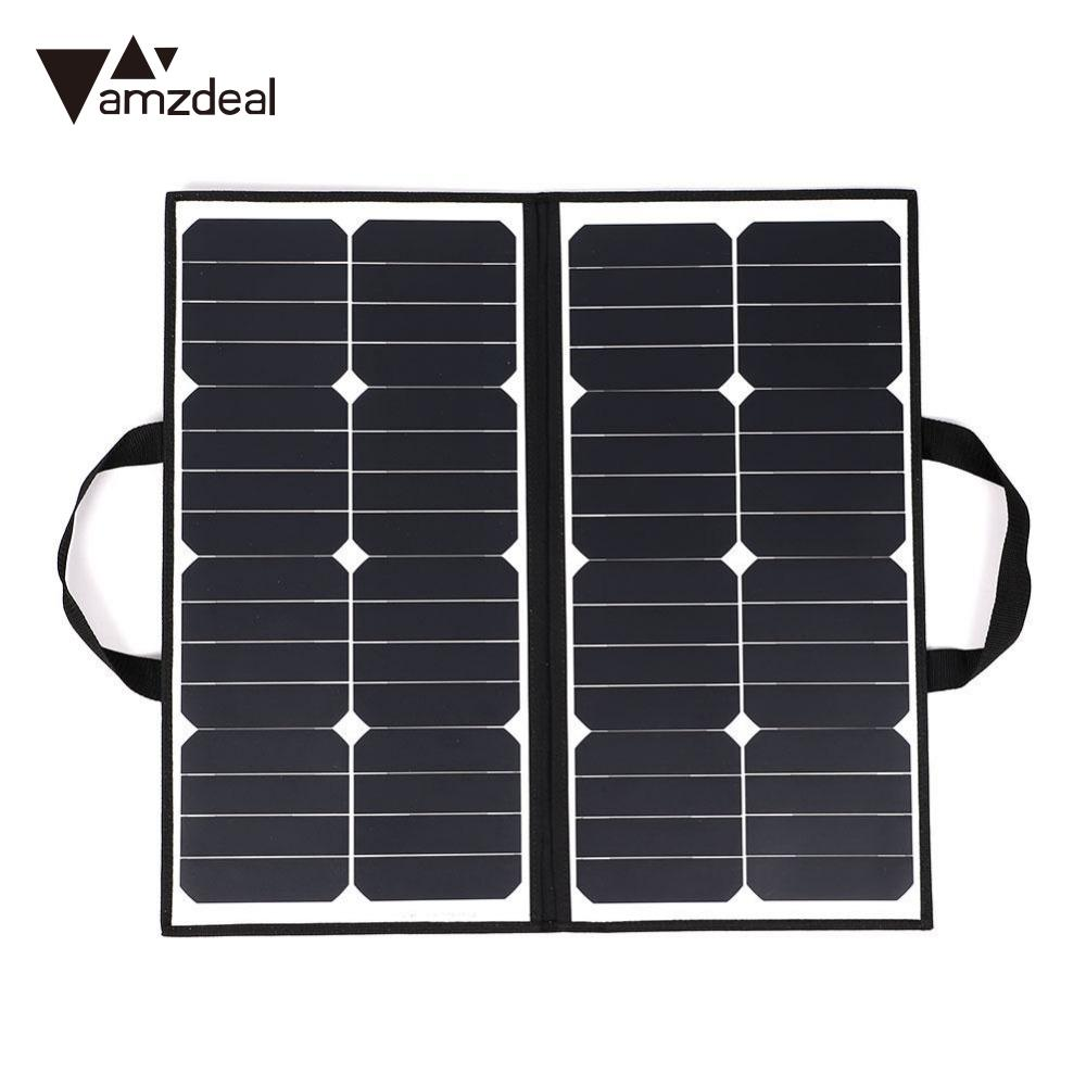 amzdeal Portable 50W 18V Solar Panel Outdoor Camping Waterproof Folding Solar Power Panel Charger For Battery Covenience