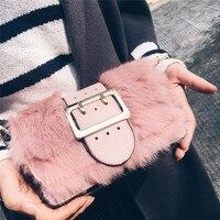 Nuevo bolso del sobre del embrague Del Bolso femenino del monedero de las mujeres bolsas Bolsos Sac Femme Invierno Faux de Piel de Pelo de Conejo Bolsa de Embrague visón