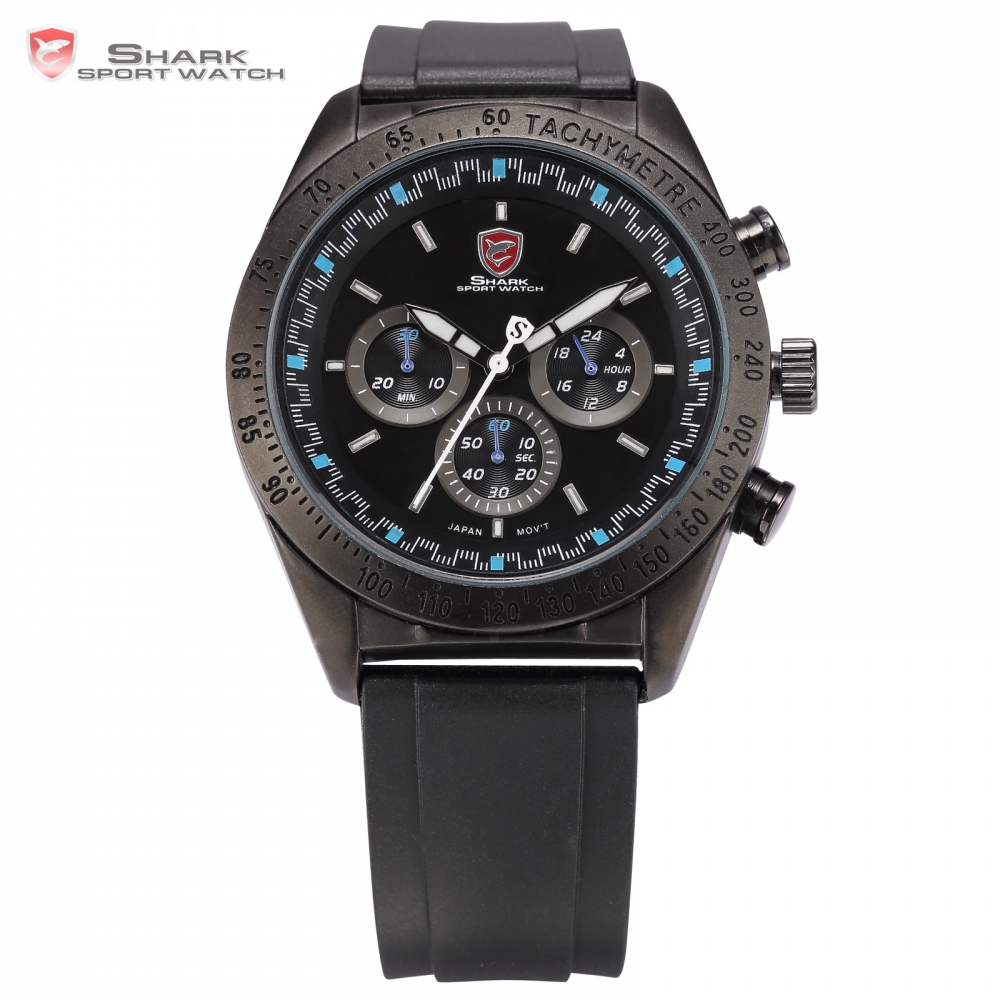Swell SHARK Sport Watch Tachymeter Bezel Chronograph Black Blue Round Rubber Strap Waterproof Men's Gents Wrist Watches /SH275 шейкер sport elite sh 300 850ml black