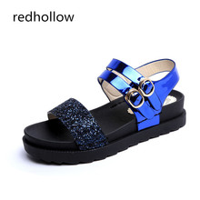 Summer Platform Sandals Women's Flat Summer Casual Shoes Beach Sandals Bling Double Buckle Rome Style Ladies Sandals Women Shoes prova perfetto sheepskin thick bottomed summer sandals women retro style hollow out buckle strap casual shoes romen flat sandals