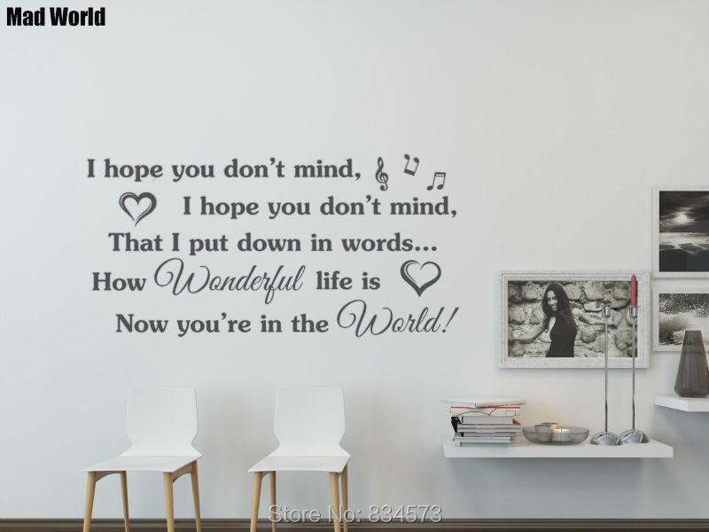 Mad World I hope you don't mind Music Song lyrics Wall Art ...