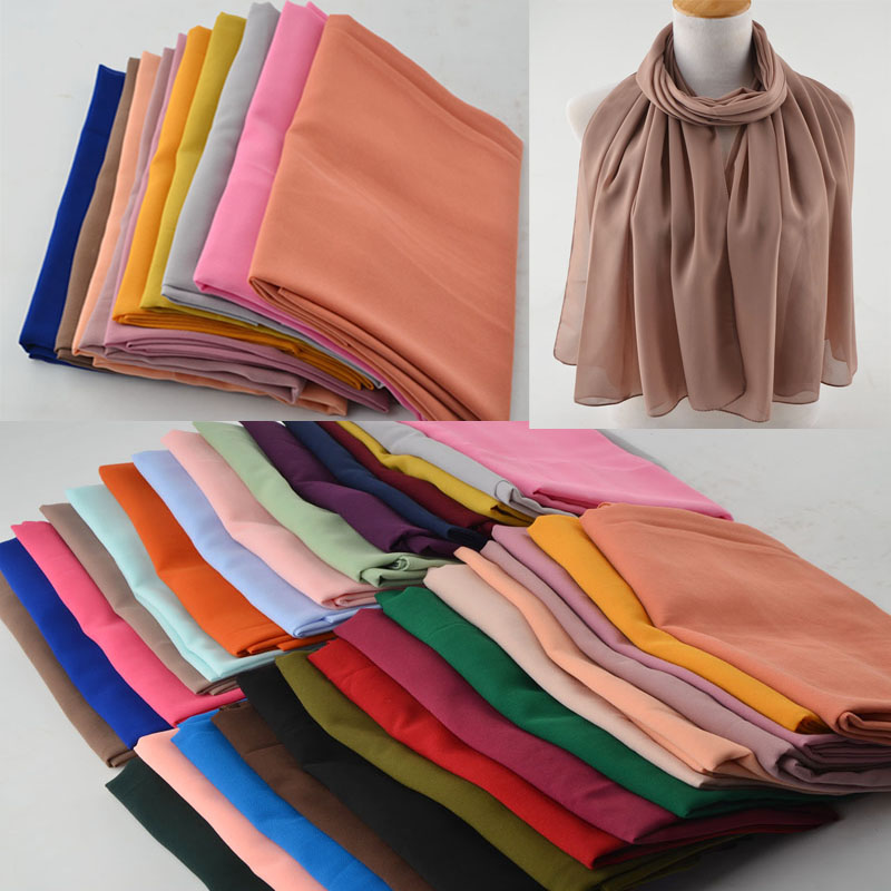 Women High Quality Bubble Chiffon Scarf,muslim Hijab,Solid Color Instant Shawls,Beach Hijab Foulard Muslim Scarves In 30 Colors