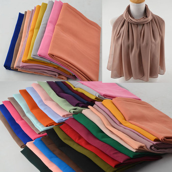 Women High Quality Bubble Chiffon Scarf,muslim Hijab,Solid Color Instant Shawls,Beach Hijab Foulard Muslim Scarves In 30 Colors