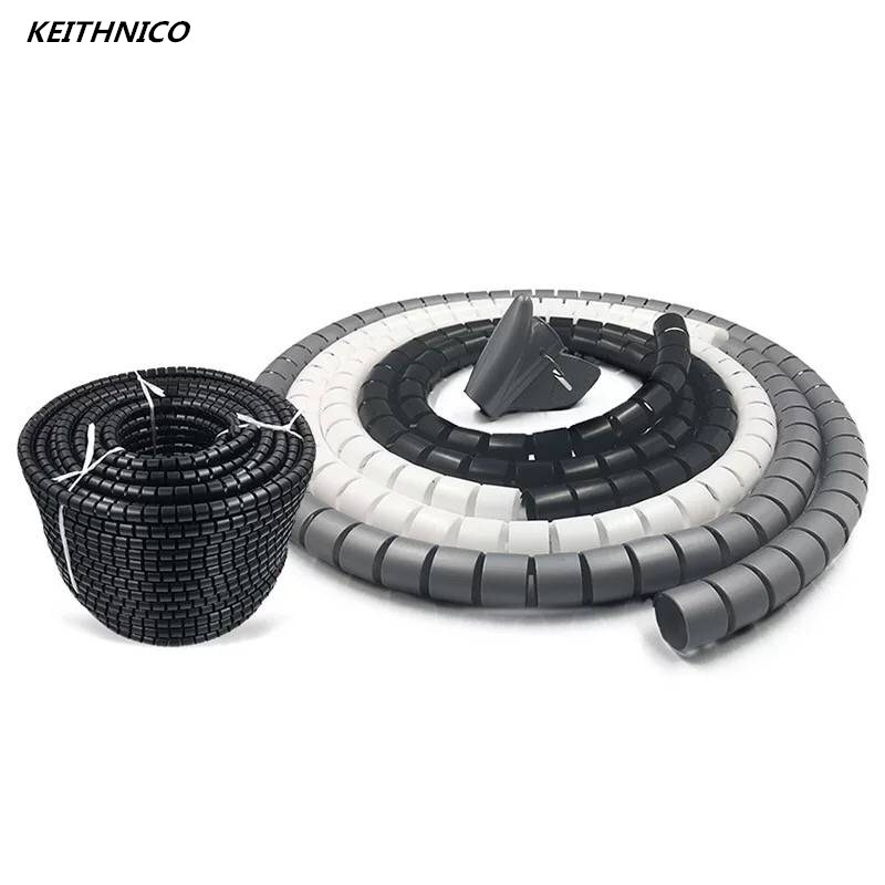 KEITHNICO Cable Organizer Wire Management Protector Cable Winder Coiled Tube Sleeve Desktop Computer Power Cord Storage Wrap keithnico 1m 3ft cable wire wrap organizer spiral tube cable winder cord protector flexible management wire storage pipe 16mm