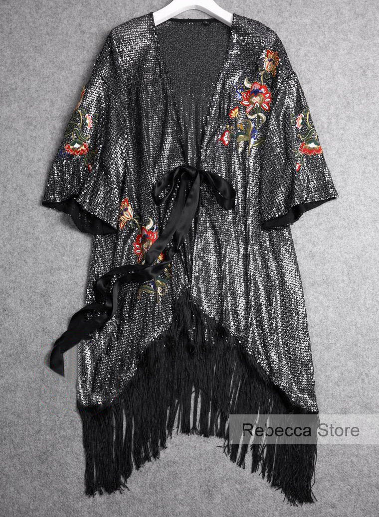 WISHBOP 2018 Woman Floral EMBROIDERED AND SEQUINNED Long Wrap kimono dress Side belt fastening 3 4