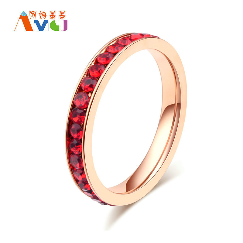 Amgjek 3mm A Row Crystals Red Clear Ring Titanium Steel Rose Gold