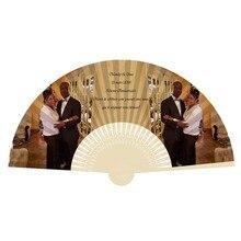 100 шт персонализированный бумажный свадебный веер, женский складной веер, Индивидуальные свадебные сувениры и подарки для гостей, печать логотипа