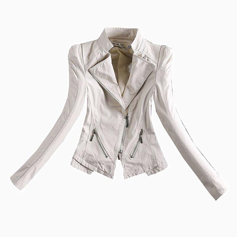 La Mode Slim Taille Pu Stand Black Veste Col Nouvelle Dames Plus En Cuir Lavé 4xl white Femmes Vestes Courtes d4Rwdx
