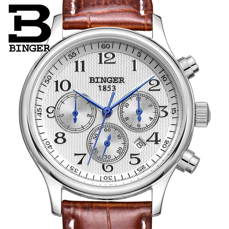 Switzerland Mens watch luxury brand Wristwatches BINGER Mechanical clocks leather strap Waterproof B6036-3Switzerland Mens watch luxury brand Wristwatches BINGER Mechanical clocks leather strap Waterproof B6036-3
