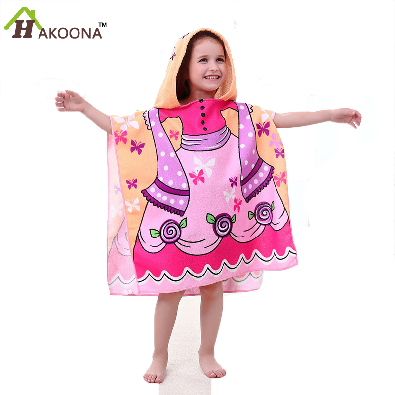 Hakoona Poncho Children Girls Cartoon Mermaid Hooded