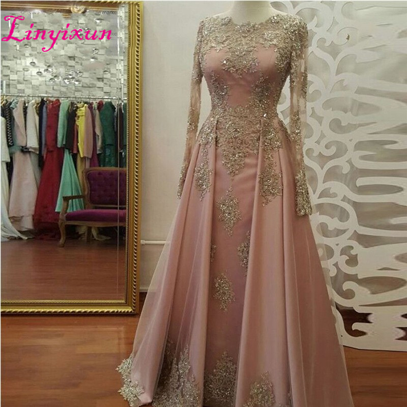 2018 abendkleider Long Sleeve Long   Prom     Dresses   with Gold Lace Beadings Floor Length Satin Evening   Dress   Formal Party Gown