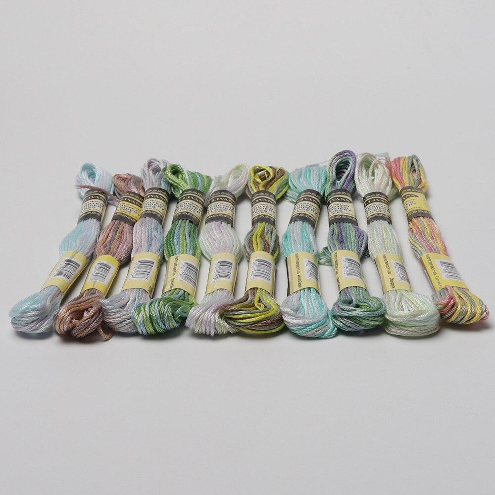 € 3.96 5% de DESCUENTO|10 colores por juego abigarrado 6 hilos 8 metros por  madeja de variación de Color de hilo de algodón bordado Overdyed Cruz ...