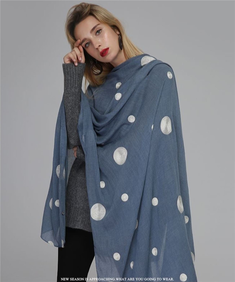 11 color popular dot Scarf embroider polka dot scarves shawl cotton viscose soft pashmina popular woman wrap brand muffler