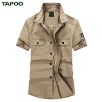 TAPOO Cotton Men Shirts Short Sleeve Air Force One Blouse Summer Clothing Loose Denim Design Solid