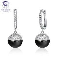 HanCheng New Luxury Silver Dangle Long Hanging CZ Zircon Gem Stone Ceramic Round Drop Earrings For Women Jewelry brincos bijoux