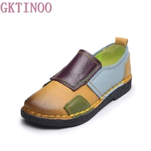 GKTINOO Fashion Shoes Woman Genuine Leather Loafers Women Mixed Colors Casual shoes Handmade Soft Comfortable Shoes Women Flats