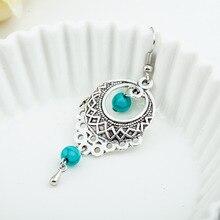 Ethnic Bohemia Drop Earrings For Women Silver Turquoise Beads Earring Hollow Big Long Tassel Statement Charm Vintage Jewelry
