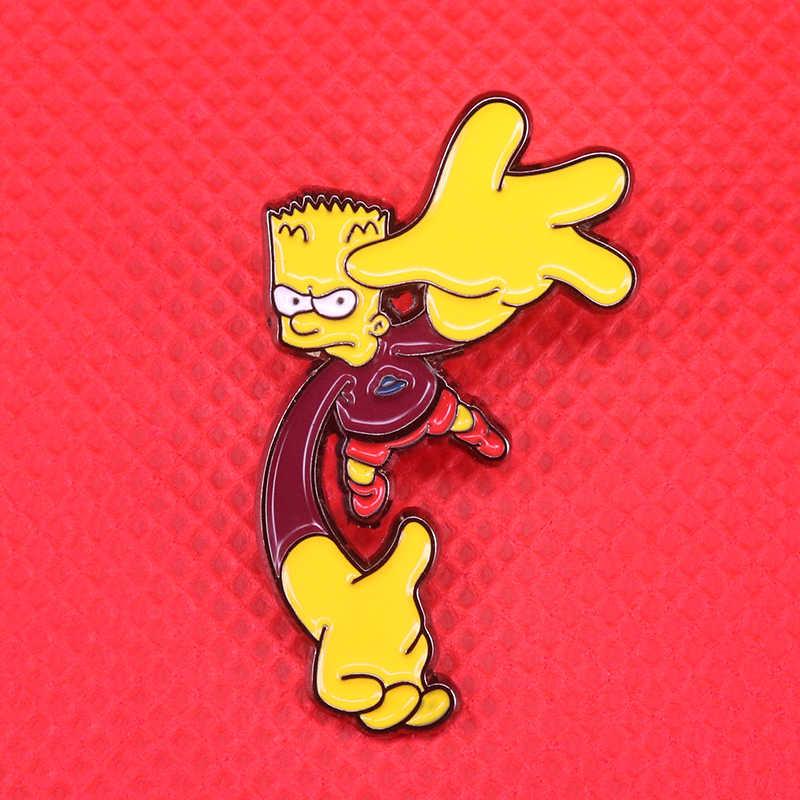 Bart Simpson Bartman emblemas pin broche bonito dos desenhos animados da cultura pop engraçado presente criativo dos revestimentos do revestimento do vintage acessório