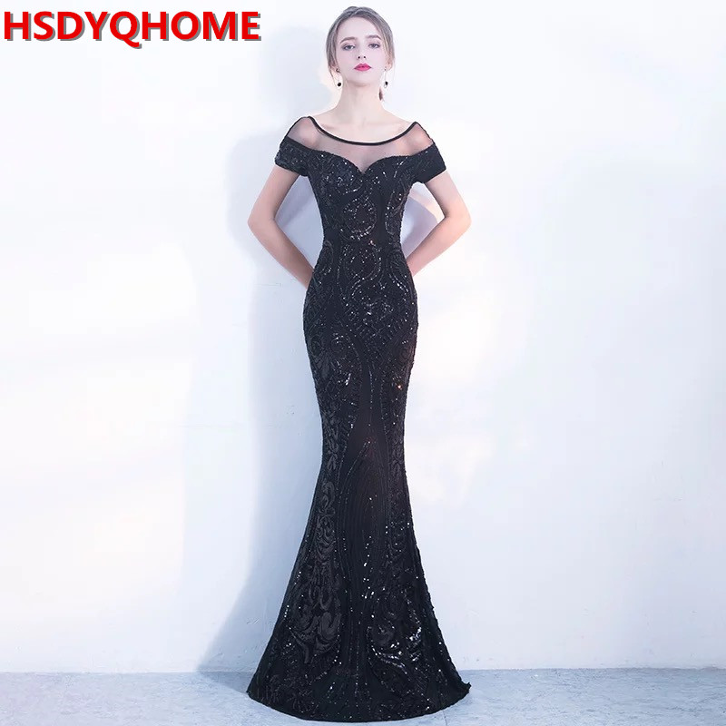 HSDYQHOME Black Sequins Prom   Dress   Elegant Backless Long   Evening     Dress   Mermaid Black Party gown