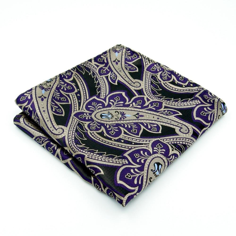 AH30 Purple Khaki Paisley Mens Pocket Square Handkerchief Classic Fashion Accessory Hanky