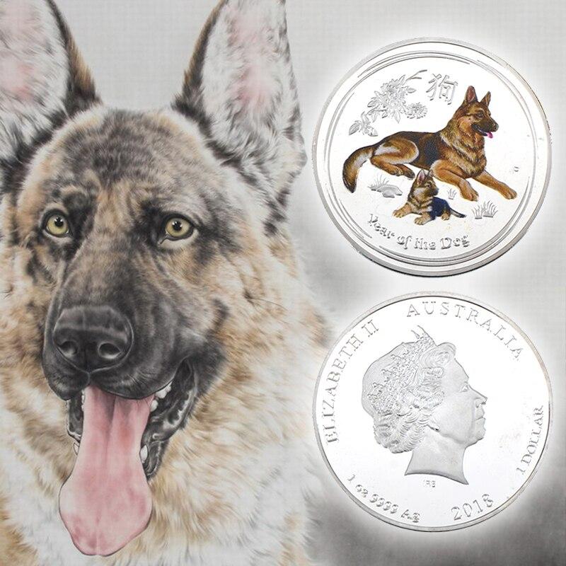 wr rok pies posrebrzane metalowe monety owczarek niemiecki pies pamia tkowe srebrne monety dla kolekcjonowania nowy rok