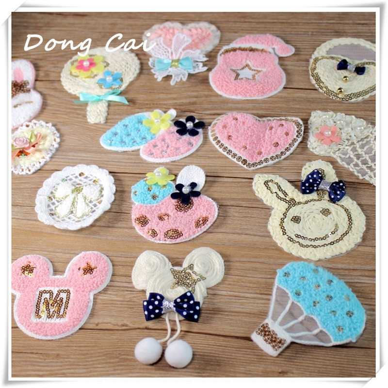5pcs/lot DIY manual embroidery wool sweater laminated buiter subsidies Baby clothes lovely stick decals towel embroidery patches