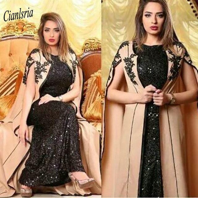 Muhteşem İki adet siyah payetli müslüman akşam elbise 2020 pelerin aplikler dantel Dubai arapça resmi akşam parti elbiseler