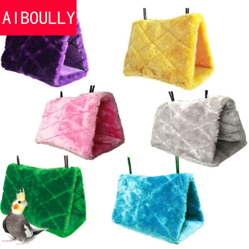 Plush Bird Hanging Cave Cage Snuggle Happy Hut Tent Bed Bunk Toy Parrot Hammock+Washing pad can be reused ...