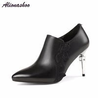 Alionashoo Women Thin High Heel Pumps Soft Cow Leather Metal Thin Heels With Crystal Fashion Spring