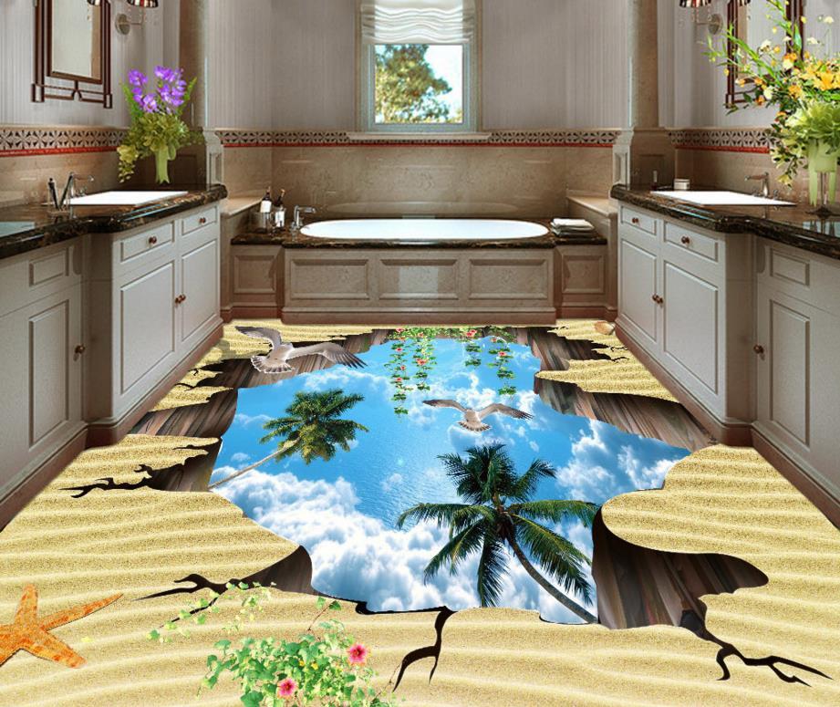 3D Wallpaper 3D Flooring papel de parede beach Wallpaper For Walls 3 D Floor Painting Wall papers Home Decor недорого