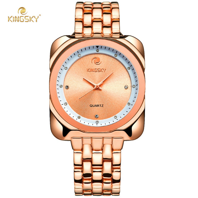 6ea49ab58 New Design KINGSKY Rose Gold Women Watch Big Square Face Fashion Luxury  Analog Quartz Watches Ladies Dress Wristwatch