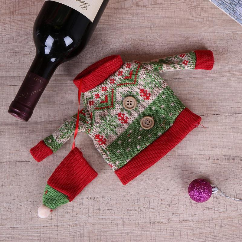 Christmas Knitted Red Wine Hold Towels Bottles Covers Christmas