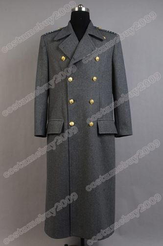 Torchwood Doctor Captain Jack Harkness Jacket Wool Coat Cosplay Costume Grey Ver