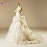 Waulizane Luxurious Ruffled Organza Sweetheart Wedding Dress Sleeveless Beading Pearl Floor Length Lace Up Ball Gown