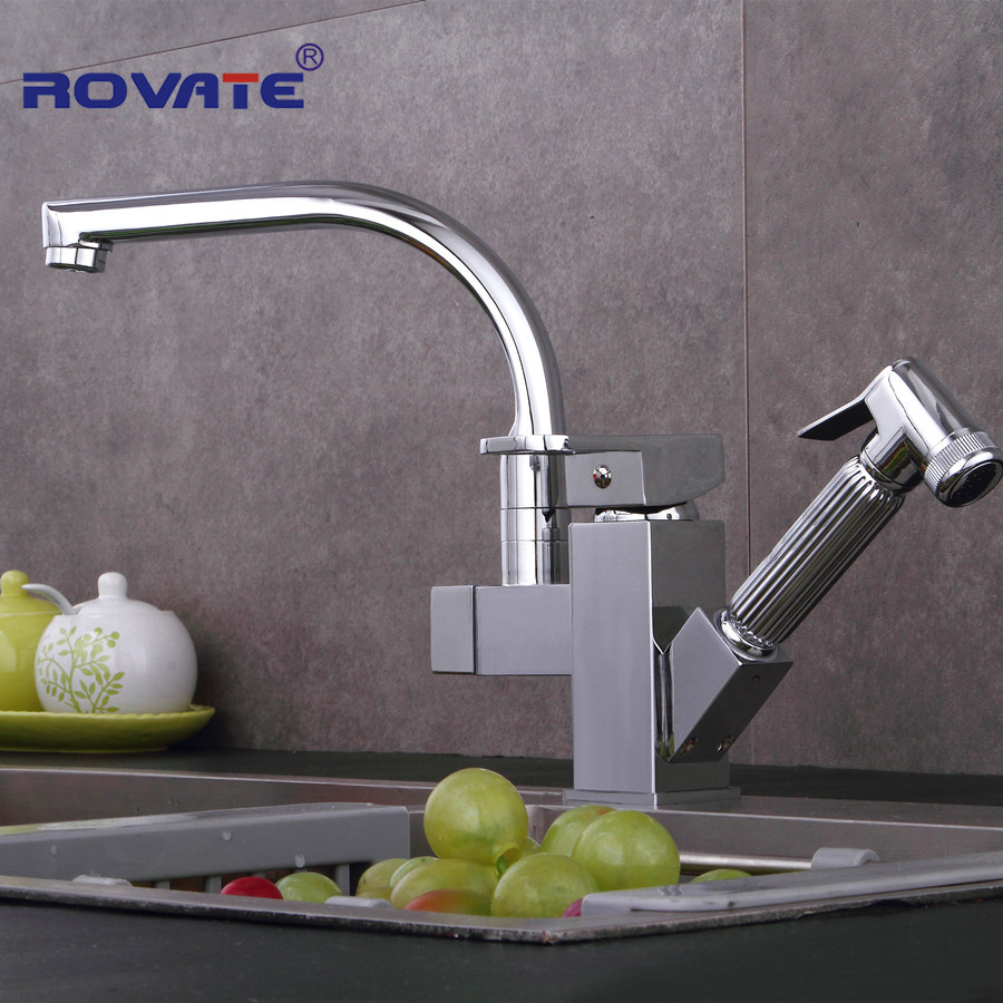 цена на Double Spouts 360 Degree Pull Out Kitchen Faucet Kitchen Tap Sink Mixer With Hot And Cold Water Crane