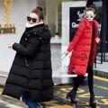 2016 das Mulheres de Longo Casaco Feminino Casaco de Inverno de Espessura Quente Com Capuz Jaqueta de Inverno Mulheres Para Baixo Casaco Jaqueta de Algodão Acolchoado Na Altura Do Joelho