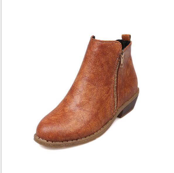 De Pie Cremallera Del Con Botas Cuero Delgados Redondo Mujeres Invierno marrón Leopard Dedo Plaza Tacón Martin botas Las negro gris Zapatos Una Print Nuevas 2019 wOzPqZXn