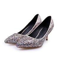 Women Autumn Elegant Wedding Bridal Gold Blue Giltter Genuine Leather Inside Pointed Closed Toe Medium Heels