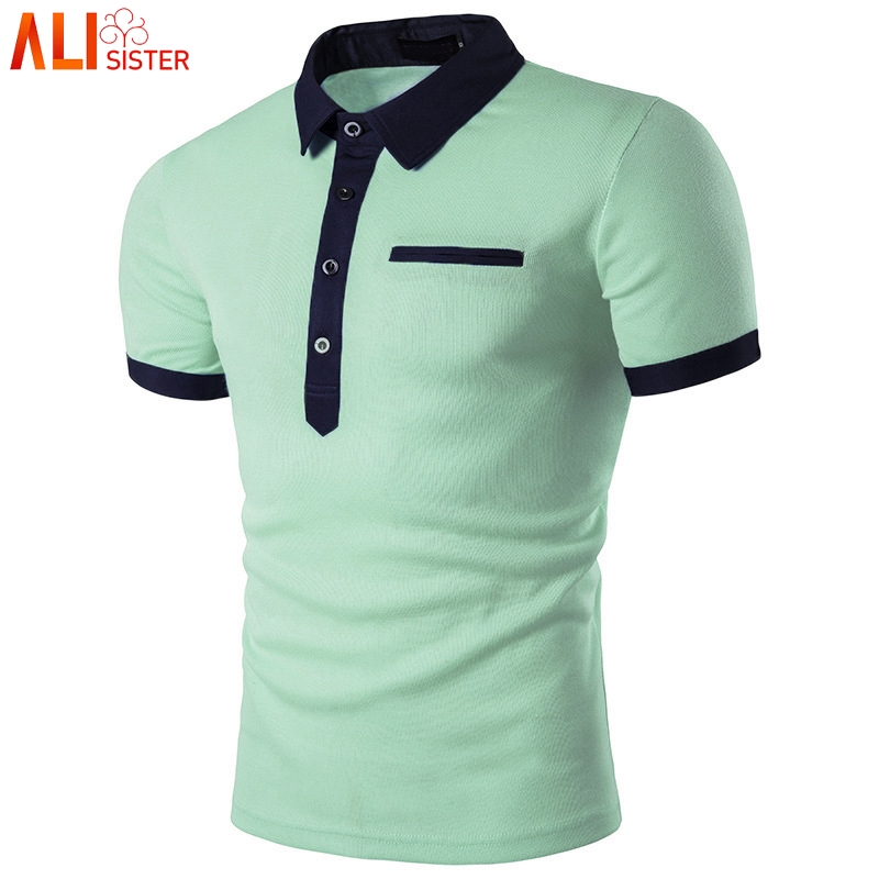 Fashion Mint Green Polo Shirt Men Polo Homme 2019 Summer Style Short Sleeve Solid Color Polo Shirts Mens Polos 3xl Plus Size Men's Clothing Tops & Tees
