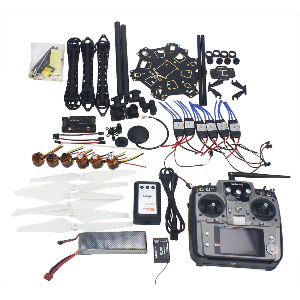 Full Set RC Drone 6-axis Aircraft Kit HMF S550 Frame 6M GPS APM 2.8 Flight Control AT10 Transmitter F08618-Q