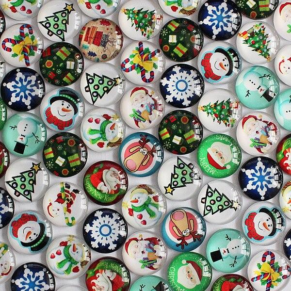 10mm Random Mixed Style Christmas Round Glass Cabochon Flatback Photo Dome Jewelry Cameo Pendant Settings 50pcs/lot K04055